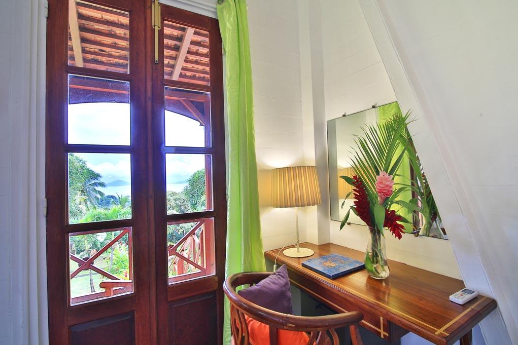 Les chambres de la maison coloniale de l'hôtel Jardin Malanga en Guadeloupe